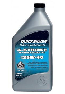 Масло Quicksilver 4-cycle gasoline & diesel 25W-40 oil (4хтактное) 1 л