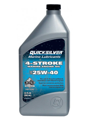 Масло Quicksilver 4-cycle gasoline & diesel 25W-40 oil (4хтактное) 1 л