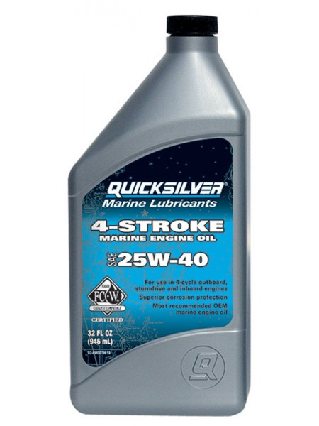 Масло Quicksilver 4-cycle gasoline & diesel 25W-40 oil 1 л